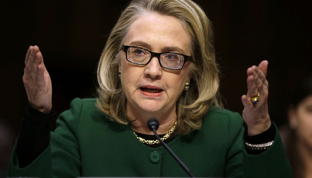 Former Secretary of State Hillary Clinton testifies Jan. 23, 2013, before the Senate Foreign Relations Committee hearing on the 2012  attack on the U.S. diplomatic mission in Benghazi, Libya. (AP Photo/Pablo Martinez Monsivais)