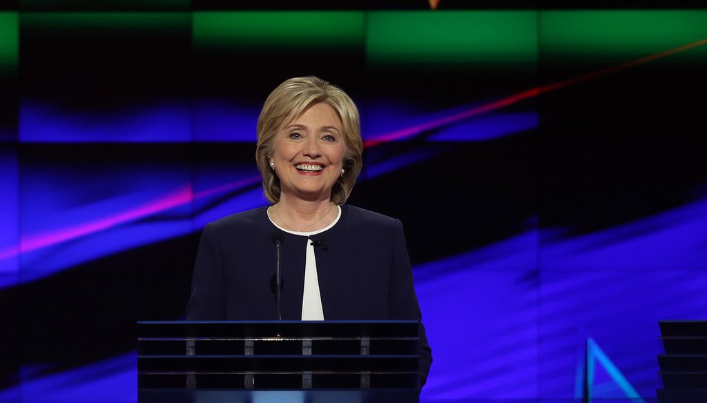 Democratic presidential candidate Hillary Clinton takes part in a presidential debate sponsored by CNN and Facebook at Wynn Las Vegas on October 13, 2015. (Joe Raedle/Getty Images)