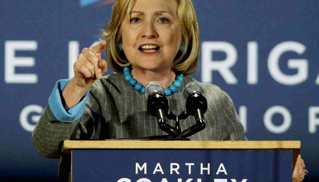 Hillary Clinton speaks at a campaign rally in Boston on Oct. 24, 2014. (AP Photo)