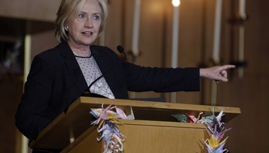Democratic presidential candidate Hillary Rodham Clinton speaks during a campaign stop at Christ the King United Church of Christ, Tuesday, June 23, 2015, in Florissant, Mo.