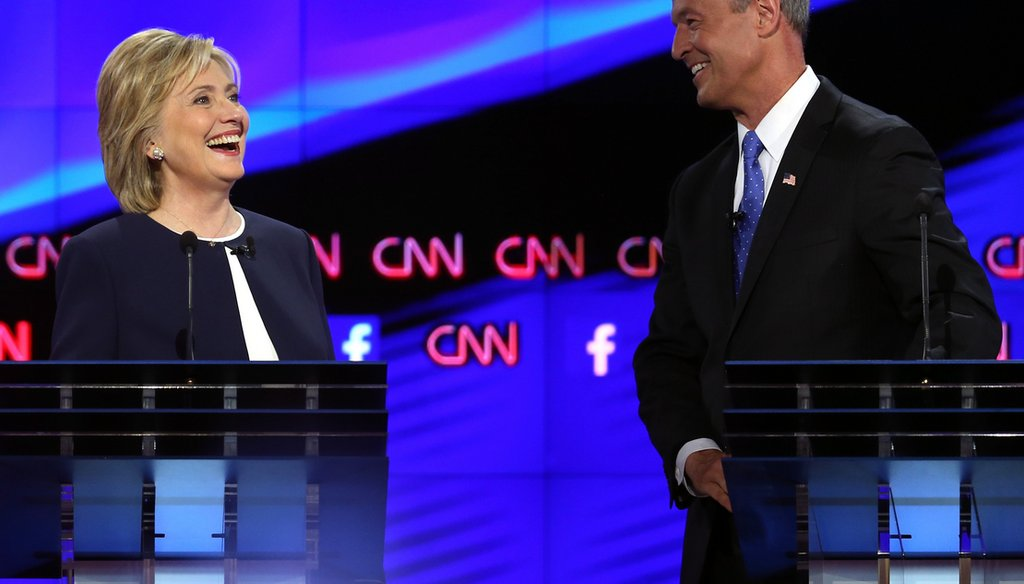 Democratic presidential candidates Hillary Clinton and Martin O'Malley take part in a presidential debate sponsored by CNN and Facebook at Wynn Las Vegas on October 13, 2015. (Joe Raedle/Getty Images)