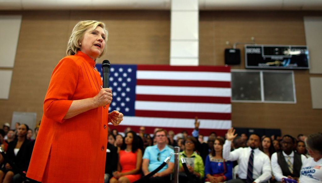 Democratic presidential candidate Hillary Clinton delivers remarks during a campaign stop August 18, 2015 in North Las Vegas, Nev. (Isaac Brekken/Getty Images)