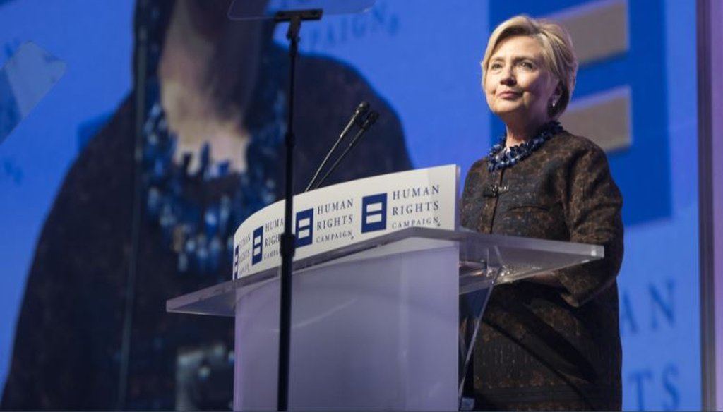 Former Democratic presidential candidate Hillary Clinton speaks at the Human Rights Campaign national dinner in Washington on Oct. 28, 2017, in Washington. (AP photo)
