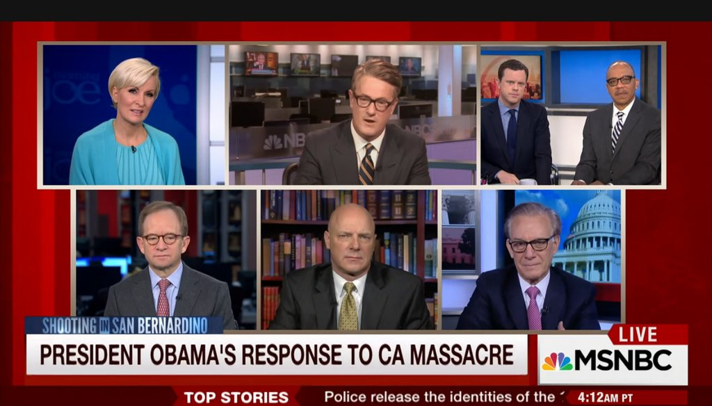 "MSNBC host Joe Scarborough, center, calls President Barack Obama ""clueless"" on the terrorism threat on ""Morning Joe"" Dec. 4, 2015. (Screengrab)"