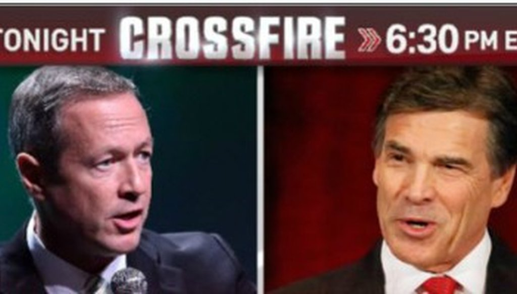 Whose state's economy is stronger? Govs. O'Malley and Perry tangled on CNN's Crossfire Sept. 18, 2013 (CNN photo).