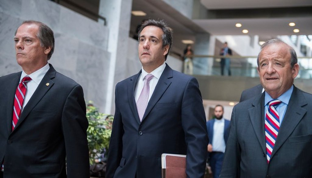 Raids on the office and hotel room of Michael D. Cohen, center, President Trump's personal lawyer, has raised questions about attorney-client privilege. (Credit Tom Williams/Associated Press)
