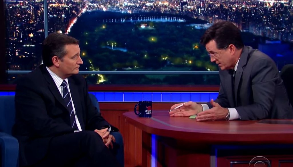 """Stephen Colbert interviews Sen. Ted Cruz, R-Texas, about Ronald Reagan on Sept. 21, 2015 on """"The Late Show."""" (Screengrab from CBS video)"""