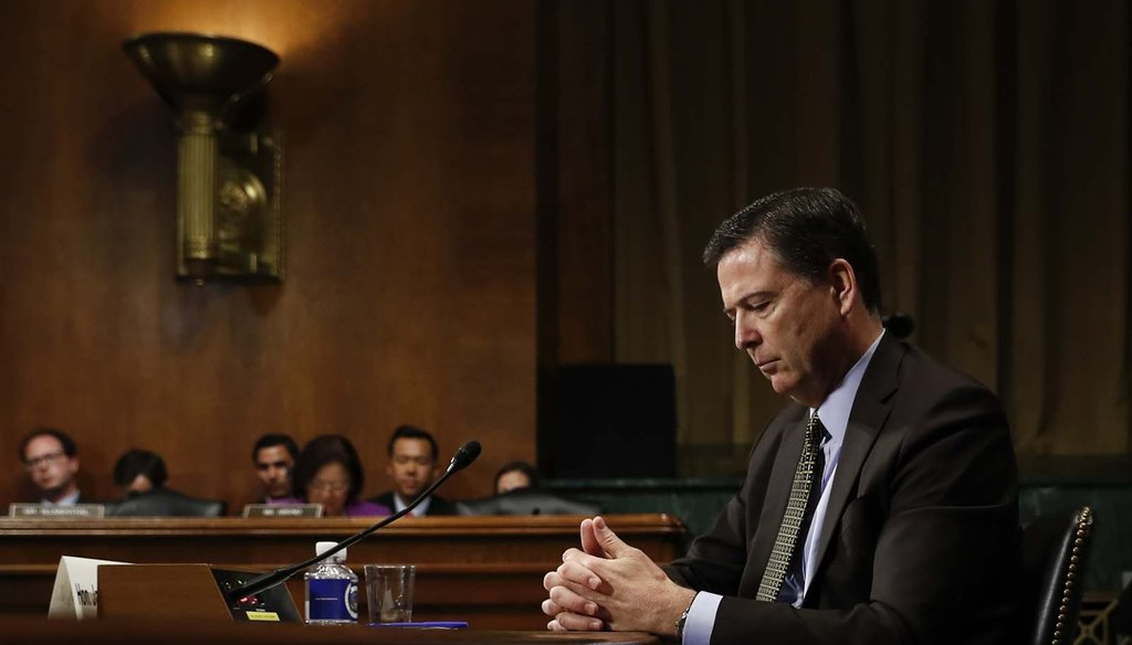In this May 3, 2017, photo then-FBI Director James Comey testifies before a Senate Judiciary Committee hearing. (AP/Carolyn Kaster)