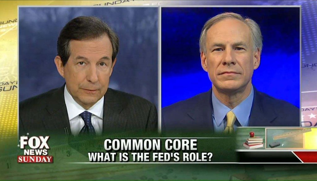 Texas Gov. Greg Abbott argues against Common Core with Fox News Sunday host Chris Wallace Feb. 1, 2015.