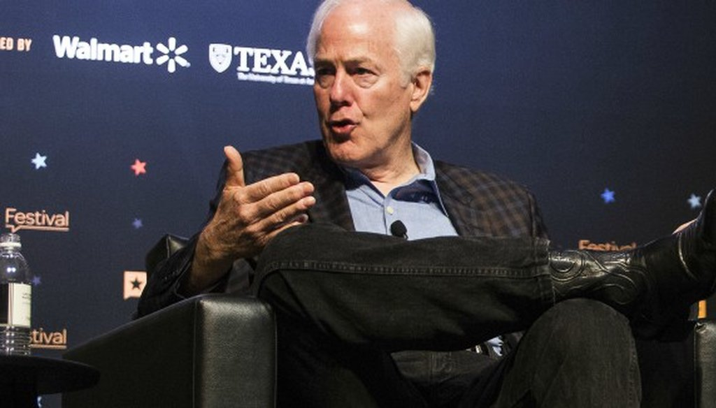 Sen. John Cornyn, R-Texas, shown here speaking at the Texas Tribune Festival on Sept. 24, 2017, wrote a constituent about health insurance premiums spiraling in cost (Nick Wagner, Austin American-Statesman).