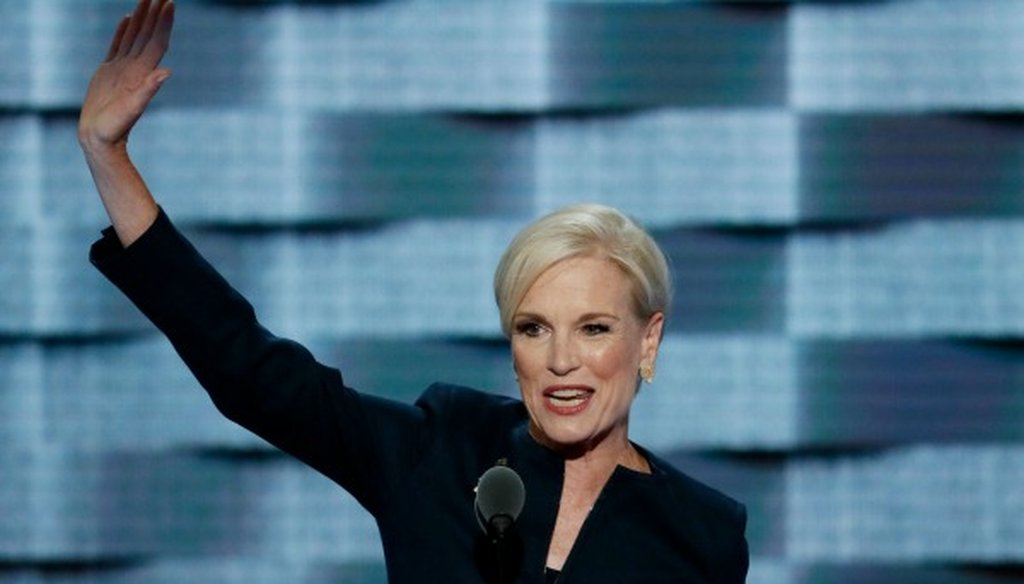 Cecile Richards, shown here speaking at the July 2016 Democratic National Convention, made a Half True claim about Barack Obama's gender gap in 2012 (The Associated Press).