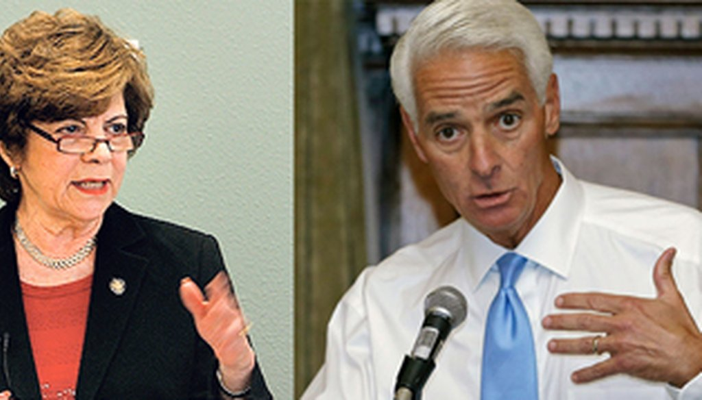 Nan Rich and Charlie Crist square off in the Democratic primary on Aug. 26, 2014. (Tampa Bay Times file photos)