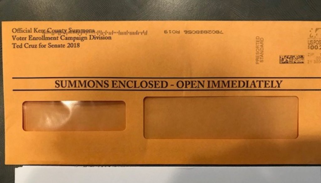 Sen. Ted Cruz's campaign enclosed a fundraising appeal in this envelope arguably similar to a government summons (San Antonio Express-News).
