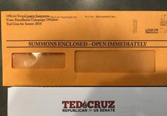 Ted Cruz 'SUMMONS ENCLOSED' envelopes might deceive--but mailers aren't illegal