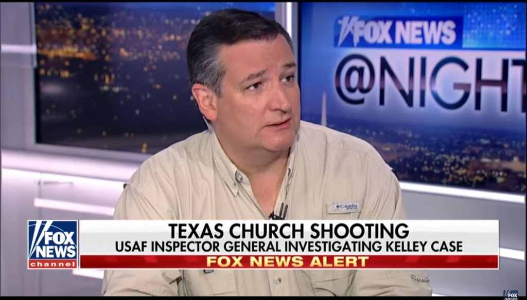 Sen. Ted Cruz, R-Tex., said Democrats filibustered legislation that would've resulted in this shooter being in federal prison on Fox News on Nov. 6, 2017.