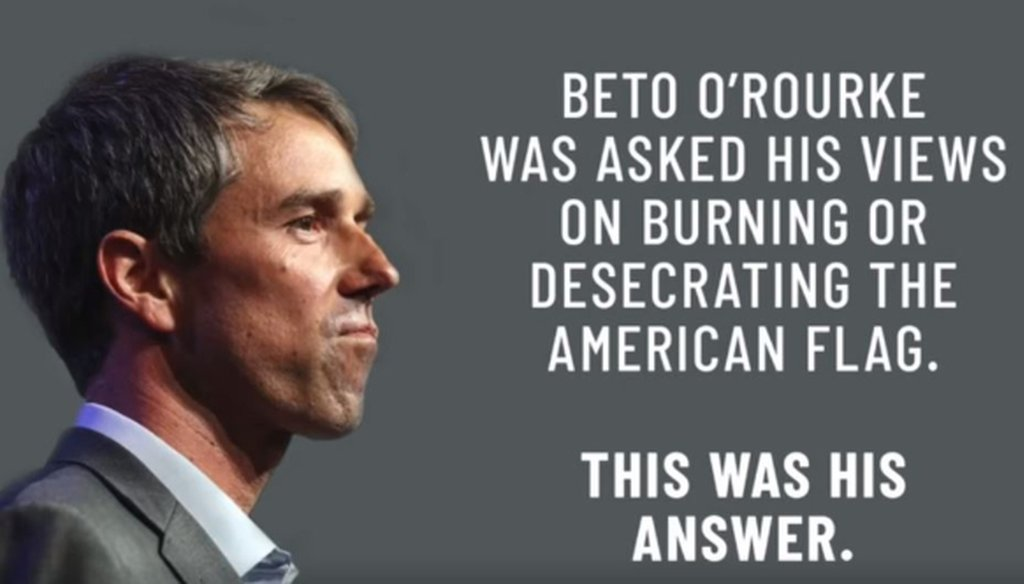 This screen grab comes from a Ted Cruz video about Beto O'Rourke's position on flag burning posted on Facebook Sept. 4, 2018.