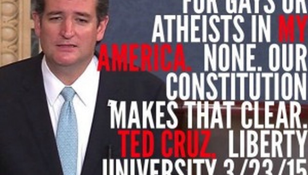 We found no substance to this meme about Ted Cruz spotted on Facebook in March 2015.