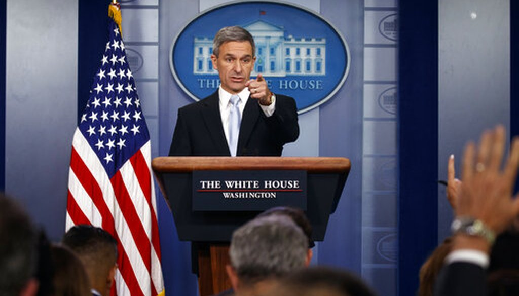 Ken Cuccinelli, acting director of U.S. Citizenship and Immigration Services, during a briefing at the White House on Aug. 12, 2019. (AP/Vucci)