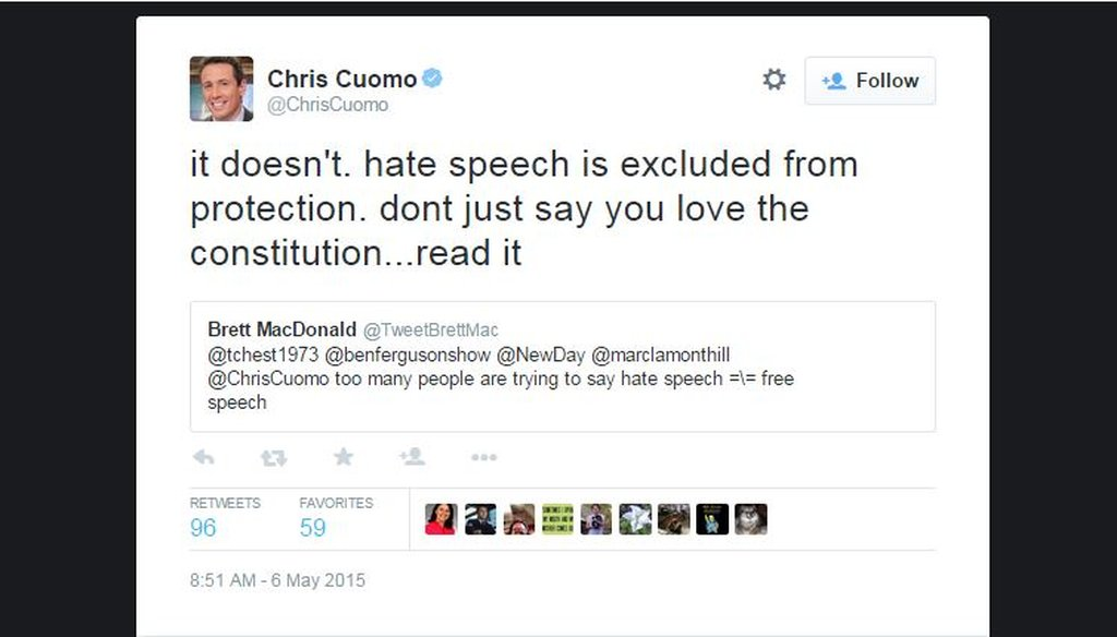 CNN anchor Chris Cuomo received heavy backlash for tweeting that the Constitution does not protect hate speech May 6, 2015.