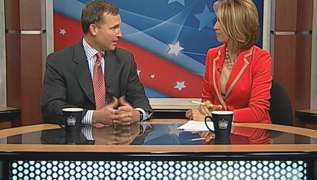 RPOF chairman Lenny Curry is interviewed by Central Florida News 13 host Ybeth Bruzual for an April 14, 2013, segment. Screenshot courtesy CFN 13.