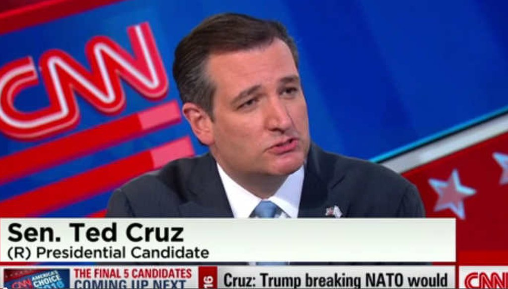 Republican presidential candidate Sen. Ted Cruz, R-Texas, spoke about NATO, Ukraine and nuclear weapons on CNN. (Screenshot)