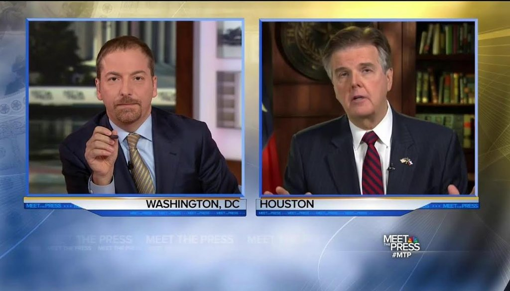 "NBC's ""Meet the Press"" moderator Chuck Todd questions Texas Lt. Gov. Dan Patrick about his state's new open carry law. (NBC photo)"