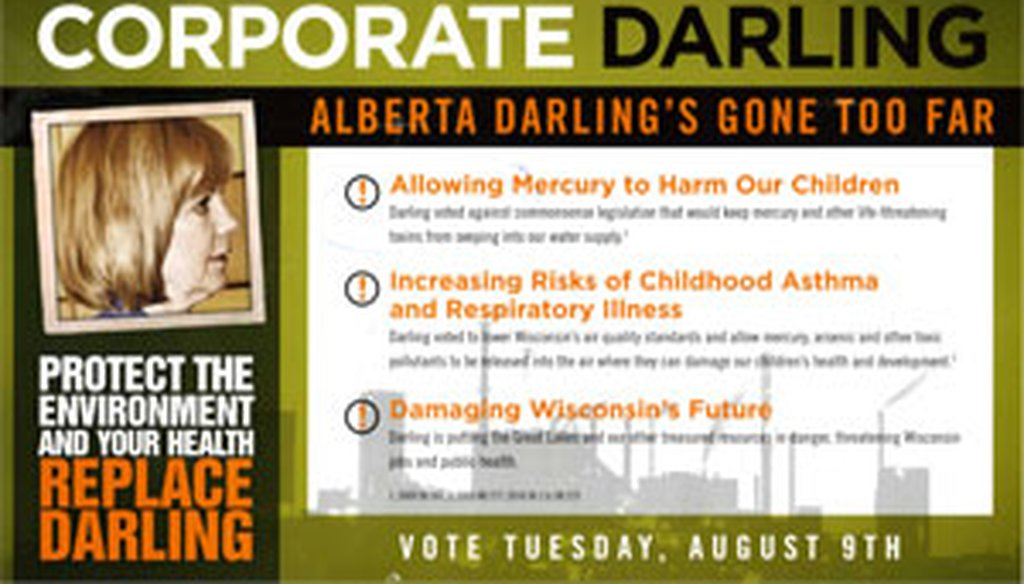 This is the front side of a Wisconsin Sierra Club mailer against Sen. Alberta Darling