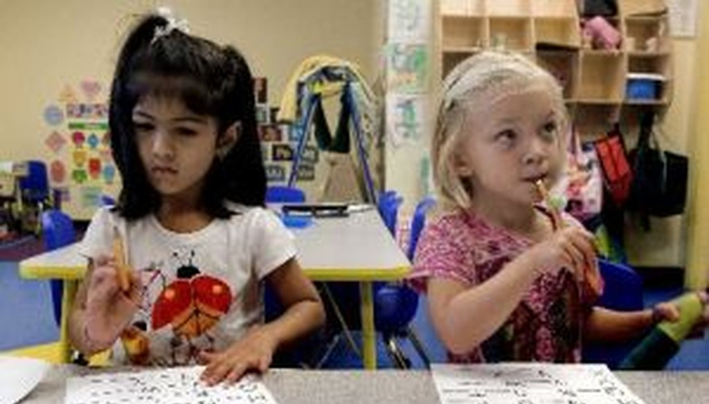 Kareena Chatani, then 4, and Reese Pittman, then 3, in a pre-K class at Carlton Academy Day School in Tampa in 2012. (Cherie Diez, Tampa Bay Times)