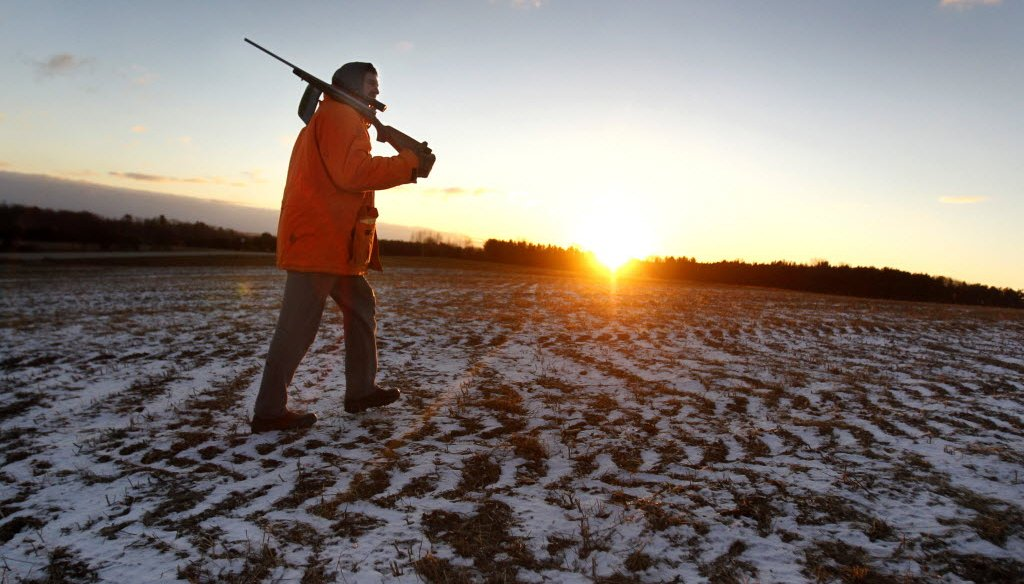 Jeff Peters crosses a frozen cornfield at sunrise on the way join his son in their deer stand on the opening day of the 2013 deer hunting season Nov. 23, 2013 near Shiocton, Wis. (AP Photo/Post-Crescent Media)