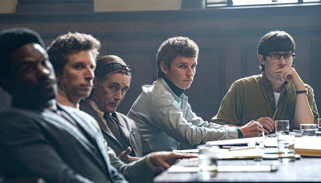The Trial of the Chicago 7. From left, Yahya Abdul-Mateen II as Bobby Seale, Ben Shenkman as Leonard Weinglass, Mark Rylance as William Kuntsler, Eddie Redmayne as Tom Hayden, Alex Sharp as Rennie Davis. (Netflix)