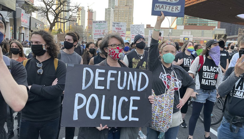 Demonstrators march in Brooklyn, N.Y., after former Minneapolis police officer Derek Chauvin was convicted April 20, 2021, of murder in the death of George Floyd. (Star Max via AP)