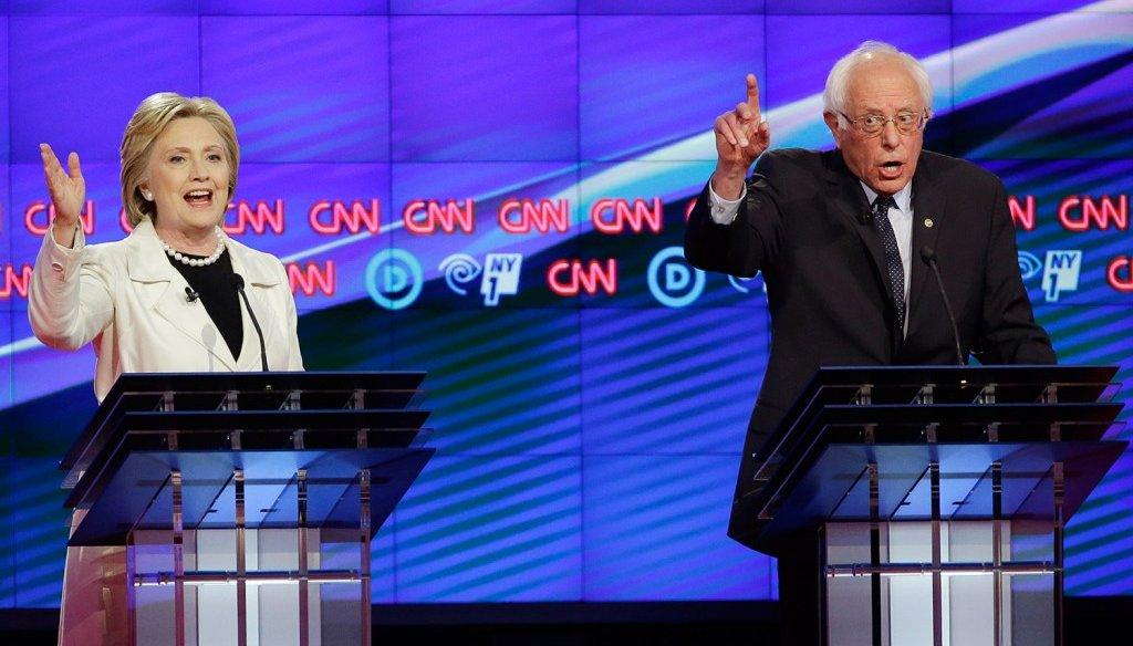 Democratic candidates Bernie Sanders and Hillary Clinton debated in Brooklyn, N.Y., April 14. (Associated Press)