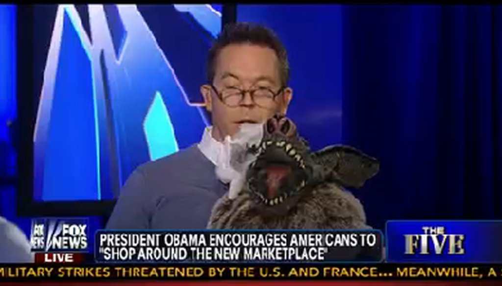"""""""The Five"""" co-host Greg Gutfeld and his demon puppet named Seth."""