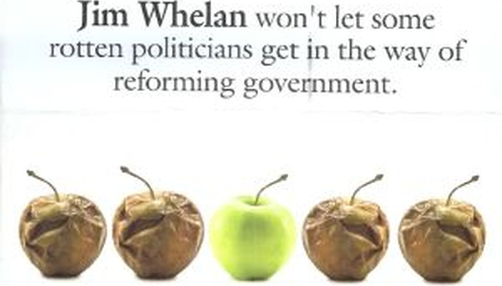 A snapshot of the mailer sent on behalf of state Sen. Jim Whelan.