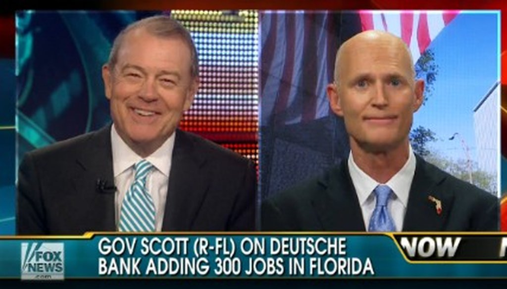 Gov. Rick Scott said Florida did nothing special to lure 300 Deutsche Bank jobs to the state.