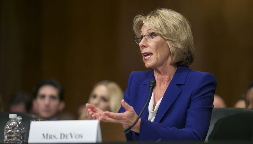 Betsy DeVos, Donald Trump's nominee for education secretary, testifies at her confirmation hearing before the Senate Health, Education, Labor and Pensions Committee Jan. 17, 2017. (Al Drago/The New York Times)