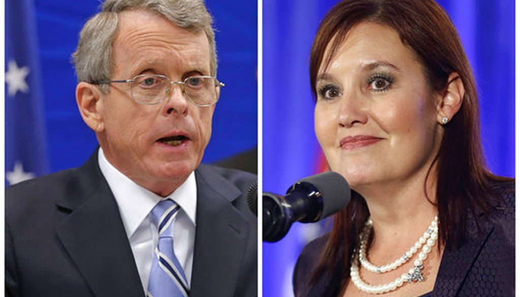 This combination of file photos shows Republican candidates for governor in Ohio's Tuesday, May 8, 2018, primary including Attorney General Mike DeWine and Lt. Gov. Mary Taylor. (AP)