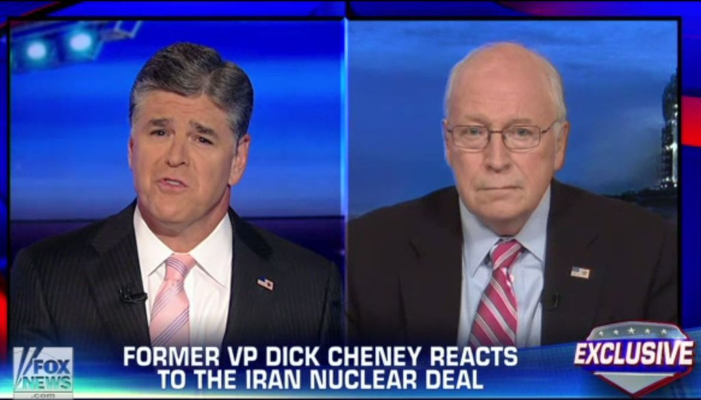 Sean Hannity invited former Vice President Dick Cheney to discuss the nuclear deal with Iran on July 14, 2015. (Screenshot)