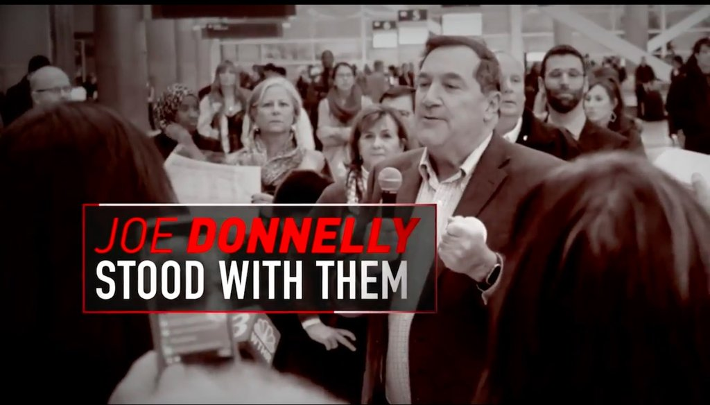 "A National Republican Senatorial Committee ad in the Indiana Senate race claims Democratic incumbent Joe Donnelly stands with the ""radical left"" on immigration."