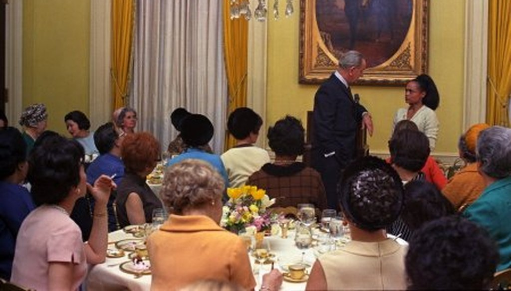 Former President Lyndon B. Johnson is asked a question by Eartha Kitt. [LBJ Library photo by Kevin Smith]