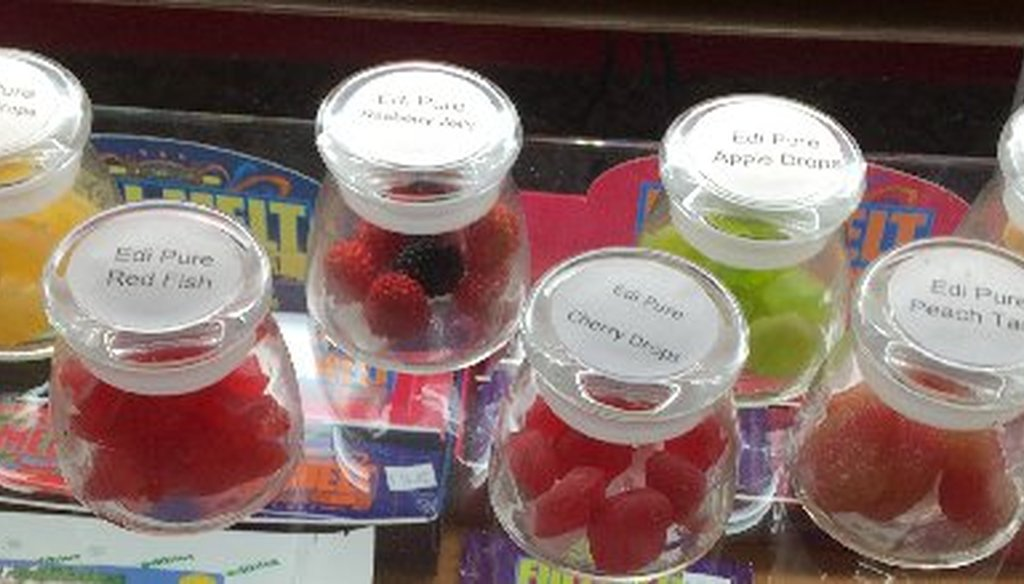 """Various forms of """"edibles"""" on sale at a marijuana dispensary in Denver in 2014. The state has since outlawed products in the shapes of people, fruit or animals. (Times file photo)"""