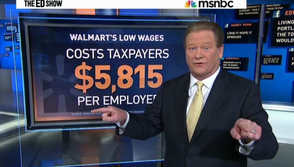 Ed Schultz blasted Walmart for not paying its workers enough money to get off of public assistance.