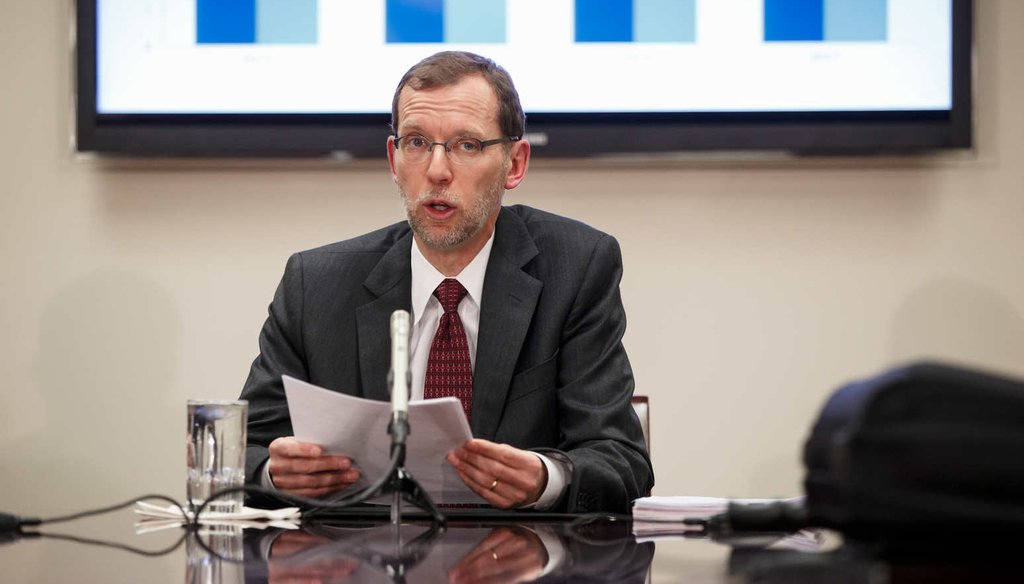 Congressional Budget Office Director Douglas W. Elmendorf holds a briefing for reporters on the CBO's updated budget and economic outlook, Jan. 26, on Capitol Hill in Washington.