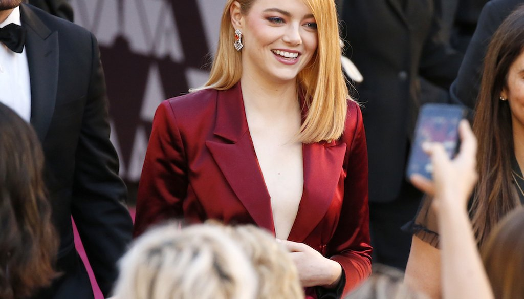 Emma Stone at the Oscars on Sunday, March 4, 2018, at the Dolby Theatre in Los Angeles. (Associated Press)