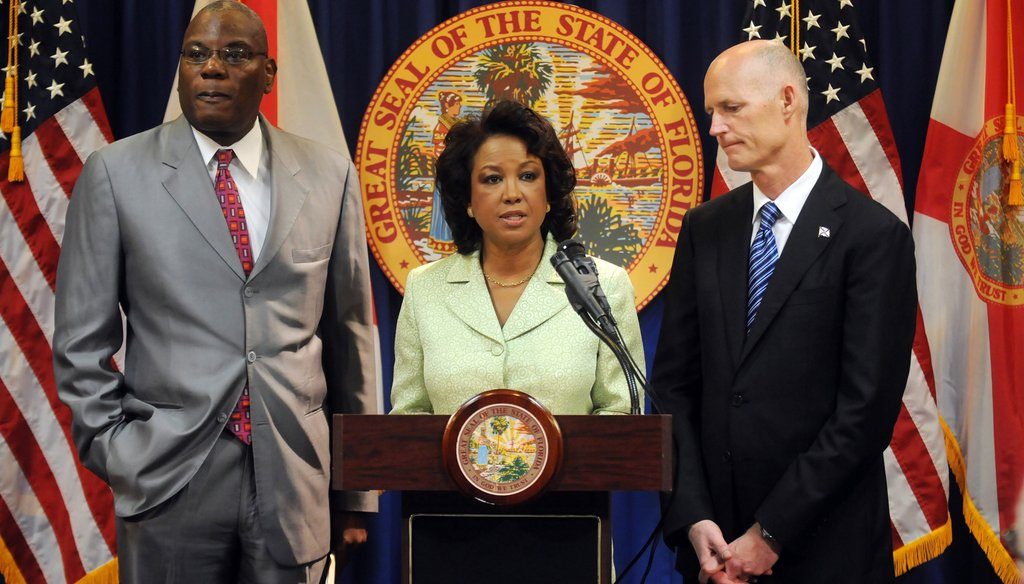 """Lt. Gov. Jennifer Carroll speaks at a news conference about the """"stand your ground"""" task force. Photo courtesy Gov. Rick Scott's website."""