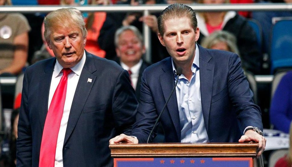 A fake news story claimed that Eric Trump, shown here at a January 2016 campaign rally in Biloxi, Miss., said his father Donald Trump didn't need to release his tax returns because he was ending taxes for the rich.