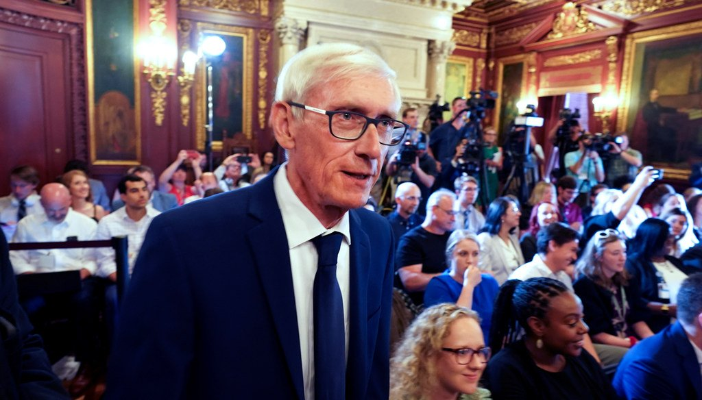 Gov. Tony Evers arrives to sign the budget at the State Capitol in Madison in July 2019.  (Steve Apps/Wisconsin State Journal via AP)