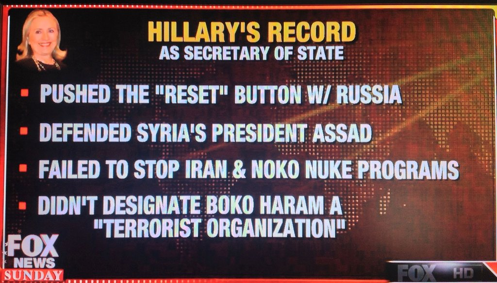 "Fox's Chris Wallace said Hillary Clinton ""defended Syria's President Assad as a possible reformer at the start of that country's civil war."""