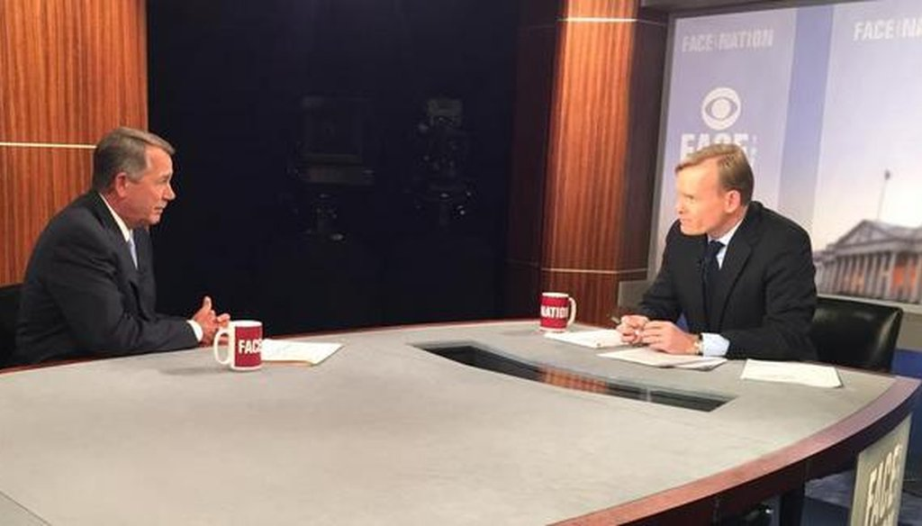 "House Speaker John Boehner, R-Ohio, appeared on ""Face the Nation"" March 1, 2015. (CBS)"