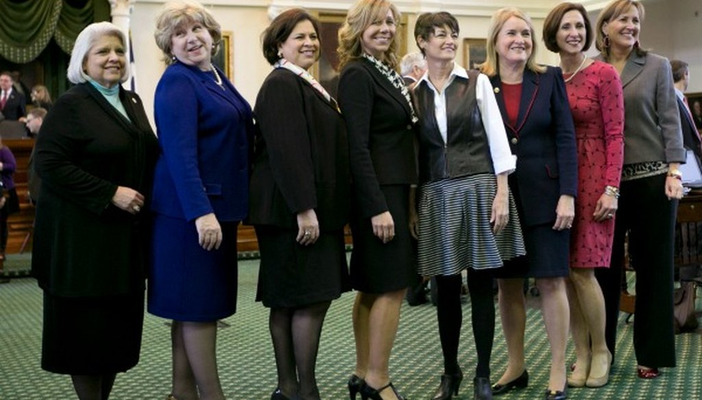 In 2015, the record eight female Texas state senators were, left to right, Judith Zaffirini, Jane Nelson, Leticia Van de Putte, Joan Huffman, Donna Campbell, Sylvia Garcia, Lois Kolkhorst and Konni Burton (Jay Janner/Austin American-Statesman).